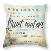 Psalm 23 Quiet Waters Throw Pillow