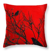 Raven - Black Over Red Throw Pillow