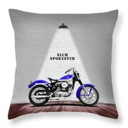 The Sportster Vintage Motorcycle Throw Pillow