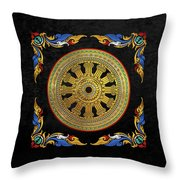 Ancient 12-spoked Gold Dharmachakra - The Wheel Of Dharma Throw Pillow
