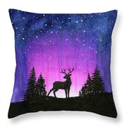 Winter Forest Galaxy Reindeer Throw Pillow