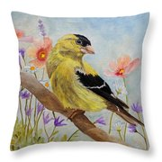 Early Spring American Goldfinch Throw Pillow by Angeles M Pomata