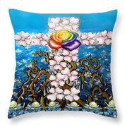 Floral Cross Rainbow Rose Throw Pillow