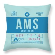 Retro Airline Luggage Tag 2.0 - Ams Amsterdam Netherlands Throw Pillow