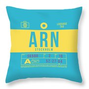 Retro Airline Luggage Tag 2.0 - Arn Stockholm Sweden Throw Pillow