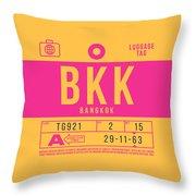 Retro Airline Luggage Tag 2.0 - Bkk Bangkok Thailand Throw Pillow
