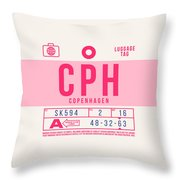Retro Airline Luggage Tag 2.0 - Cph Copenhagen Denmark Throw Pillow