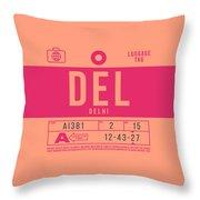 Retro Airline Luggage Tag 2.0 - Del Delhi India Throw Pillow