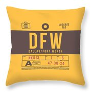 Retro Airline Luggage Tag 2.0 - Dfw Dallas Fort Worth United States Throw Pillow