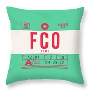 Retro Airline Luggage Tag 2.0 - Fco Rome Italy Throw Pillow