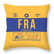 Retro Airline Luggage Tag 2.0 - Fra Frankfurt Germany Throw Pillow