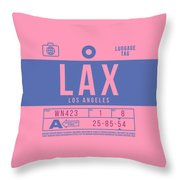 Retro Airline Luggage Tag 2.0 - Lax Los Angeles International Airport United States Throw Pillow