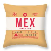 Retro Airline Luggage Tag 2.0 - Mex Mexico City International Airport Mexico Throw Pillow