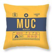 Retro Airline Luggage Tag 2.0 - Muc Munich International Airport Germany Throw Pillow
