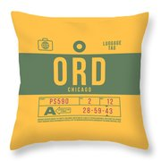 Retro Airline Luggage Tag 2.0 - Ord Chicago O'hare Airport United States Throw Pillow