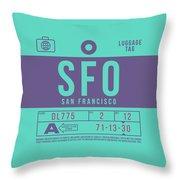 Retro Airline Luggage Tag 2.0 - Sfo San Francisco International Airport United States Throw Pillow