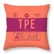 Retro Airline Luggage Tag 2.0 - Tpe Taipei Taoyuan Airport Taiwan Throw Pillow