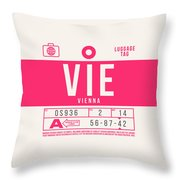 Retro Airline Luggage Tag 2.0 - Vie Vienna International Airport Austria Throw Pillow