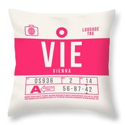 Retro Airline Luggage Tag 2.0 - Vie Vienna International Airport Austria Throw Pillow