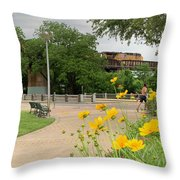 Urban Pathways Butler Park At Austin Hike And Bike Trail With Train Throw Pillow