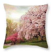 Asian Cherry Grove Throw Pillow