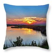 Assateague Island Sunset Throw Pillow by Louis Dallara
