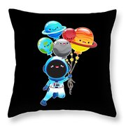 Astronaut With Planet Balloons Outta Space Throw Pillow
