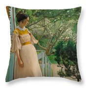 At The French Windows. The Artist's Wife Throw Pillow