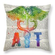 Athletic Trainer Gift Idea With Caduceus Illustration 03 Throw Pillow