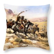 Attack On The Wagon Train Throw Pillow