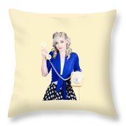 Attractive Blond Female Secretary On Vintage Phone Throw Pillow