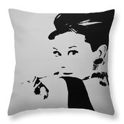 Audrey B W Throw Pillow