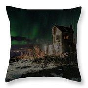 Aurora Borealis Over Harstad Throw Pillow