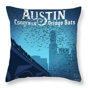 Austin Congress Bridge Bats In Blue Silhouette Throw Pillow