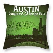 Austin Congress Bridge Bats In Green Silhouette Throw Pillow