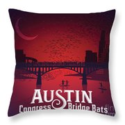 Austin Congress Bridge Bats In Red Silhouette Throw Pillow