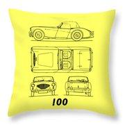 Austin Healey 100 Blueprint - Black Throw Pillow
