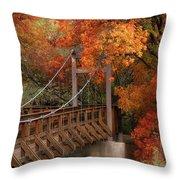 Autumn Across The Bridge  Throw Pillow