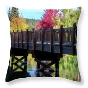 Autumn Bridge Throw Pillow by David Millenheft