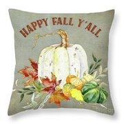 Autumn Celebration - 4 Happy Fall Y'all White Pumpkin Fall Leaves Gourds Throw Pillow
