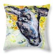 Autumn Crown Sheep Throw Pillow by Monique Faella
