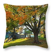 Autumn Day In The Salem Willows Salem Ma Red Throw Pillow