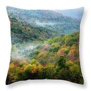 Autumn Hillsides With Mist Throw Pillow