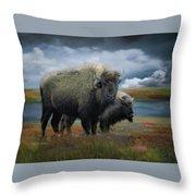 Autumn Plains Bison Throw Pillow