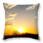 Autumn Sun Rising Over Barren Trees Throw Pillow