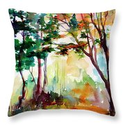 Autumn Trees Watercolors Throw Pillow by Ginette Callaway