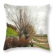 Autumn Weather. A Man With A Wheelbarrow On A Path Throw Pillow