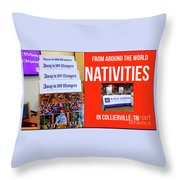 Away In 100 Mangers Throw Pillow