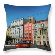 Azulejo Tiled Buildings In Alfama, Lisbon Throw Pillow