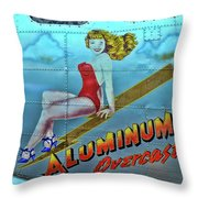 B - 17 Aluminum Overcast Pin-up Throw Pillow